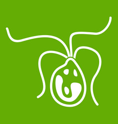 Bacterial cell icon green vector