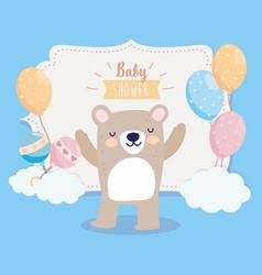 Bashower cute bear with short pants balloons vector