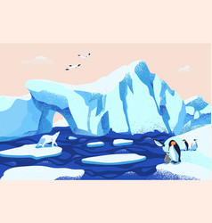 beautiful arctic or antarctic landscape gorgeous vector image