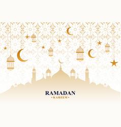 beautiful ramadan kareem decorative festival card vector image