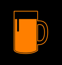 beer glass sign orange icon on black background vector image
