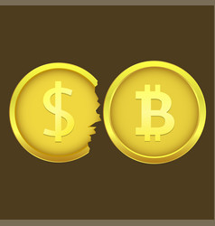 bitcoin and cracked dollar coins vector image