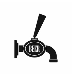 Black beer tap icon simple style vector image