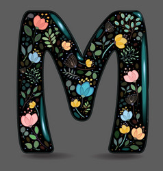 Black glared symbol m with watercolor flowers vector