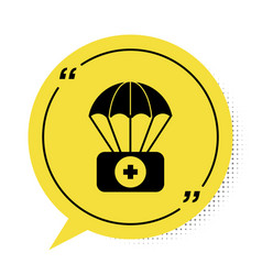 Black parachute with first aid kit icon isolated vector