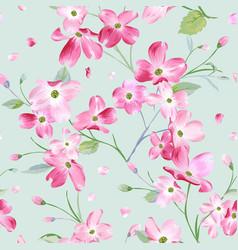 Blooming spring flowers pattern seamless vector