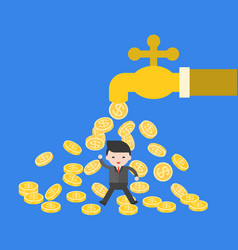 business man under falling coins from water tab vector image