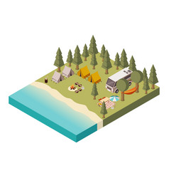 Camp near lake isometric vector