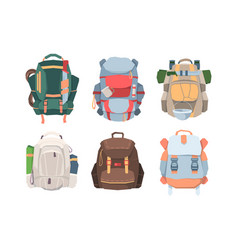 camping backpacks set necessary equipment vector image