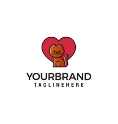 cat with heart logo design concept template vector image