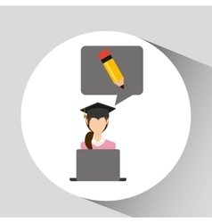 Character graduation writing online education vector