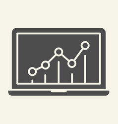 chart on laptop solid icon graph on monitor vector image