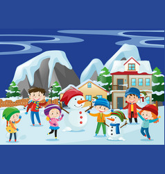 children playing snow in winter vector image