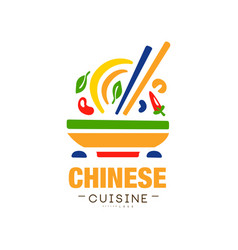 Chinese cuisine logo design authentic traditional vector