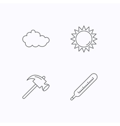 Cloud sun and thermometer icons vector image