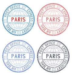 Colored postmarks paris express delivery round vector
