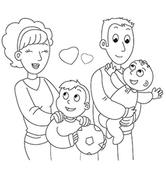 Coloring family vector image