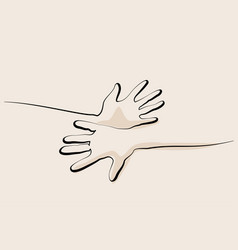 Continuous one line drawing hands palms together vector