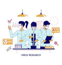 coronavirus research flat style design vector image