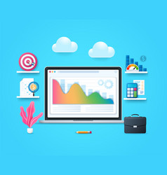 cost optimization concept laptop with graph vector image