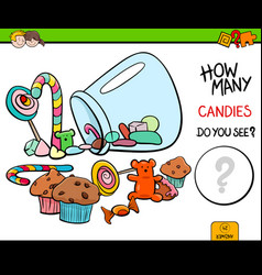 Counting candies educational activity game vector