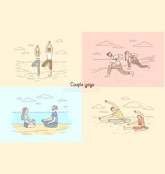 Couple yoga man and woman meditation on nature vector