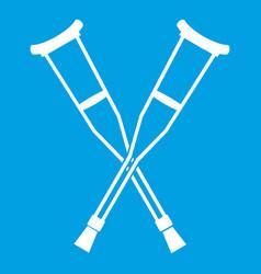 Crutches icon white vector