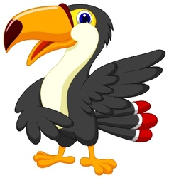 Cute toucan cartoon presenting vector image