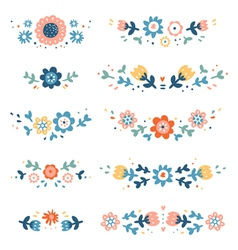 Decorative colorful floral compositions vector image