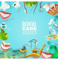 Dentals Care Flat Frame Background poster vector