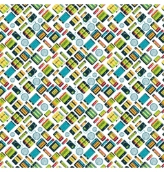 Different batteries seamless pattern vector image
