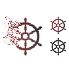 Dispersed pixel halftone boat steering wheel icon vector