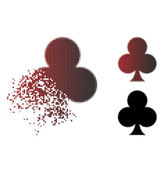 dissolved dotted halftone clubs suit icon vector image
