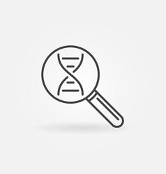 dna in magnifier line icon genetics vector image