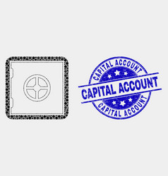 dotted banking safe icon and grunge capital vector image