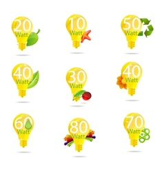 Eco bulb symbols set isolated yellow color vector