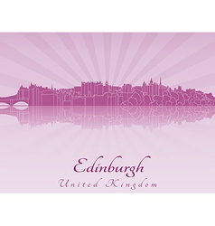 Edinburgh skyline in purple radiant orchid vector image