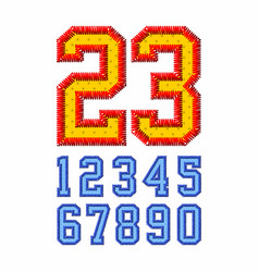 embroidered font numbers vector image