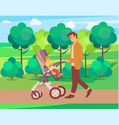 Father walking with toddler kid in perambulator vector