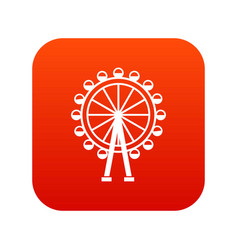 ferris wheel icon digital red vector image