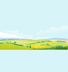 Fields and meadows panorama landscape background vector