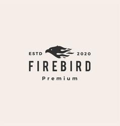 Fire bird hipster vintage logo icon vector