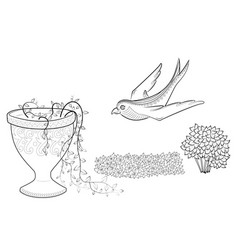 Flying swallow zen tangle flowers in a vase vector