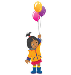 funny little girl with balloons vector image