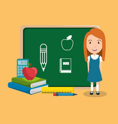 girl student in the classroom character vector image