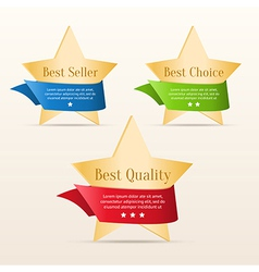Golden stars with color ribbons vector image