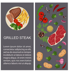 Grilled steak with ingredients vector