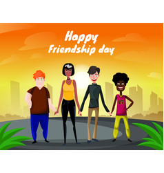 group of four happy diverse friends walking with vector image