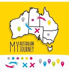 Hand drawn my australian journey map project vector