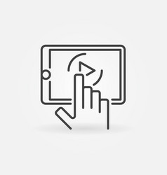 hand with tablet linear icon watching videos vector image